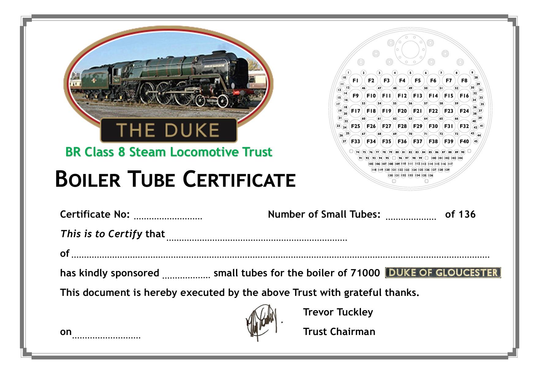 Small Tube Sponsor Certificate